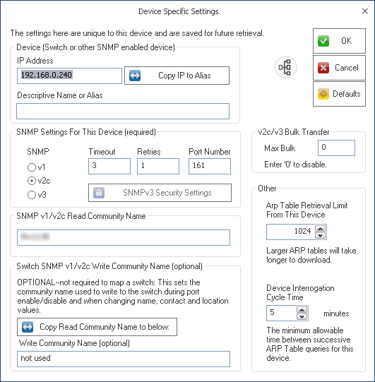 SNMP Device Settings